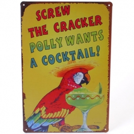 Tin sign Polly wants a cocktail - 20 x 30 cm