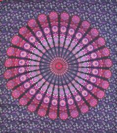 Bedsprei, wandkleed, grand foulard Paauw Mandala Violet - 210 x 220 cm