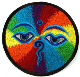 Etnisch Fabriek Patch Jasdecoratie uit Nepal - Boeddja Oog Regenboog - 15 cm doorsnee
