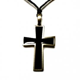 Pewter hanger zwarte Santa Lucia kruis