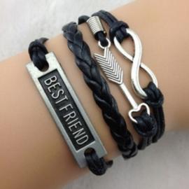 Zwarte leren en koord wraparmband infinity best friend pijl