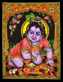 Muurkleed baby Krishna - c.a. 80 x 110 cm