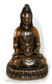 Quan Yin copper coloured polyresin - 14 cm tall