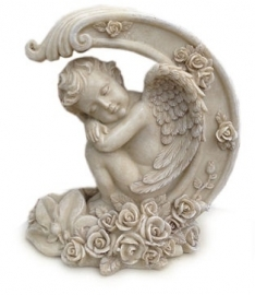 Cherub sleeping in the moon - 20 cm tall
