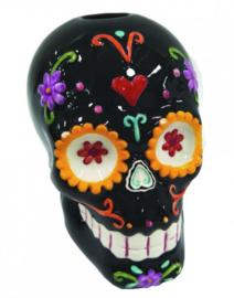 Sugar Carnival - Dia de los Muertos doodskop kandelaar - 11 cm hoog