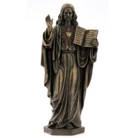 Christus met Heilig Hart en boek 17 cm