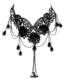 Punk Rave Gothic Choker Black Roses Necklace