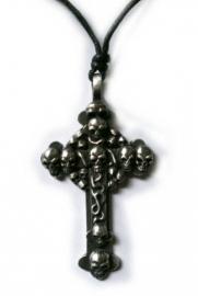 Pewter hanger kruis met doodskoppen