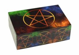 Sieradendoos Tarotdoos gelamineerd hout - Pentagram - 15 x 10 x 5.3 cm