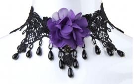 Purple Rose - zwarte Gothic kanten choker 2