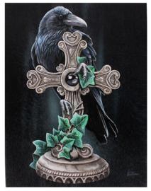 The Fallen - raaf met keltisch kruis - wandbord van Lisa Parker - 25 x 19 cm