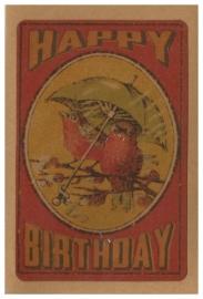Vintage style verjaardagskaart Vogeltjes