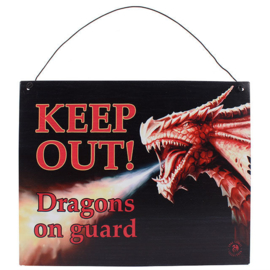Metalen wandbord Anne Stokes - Keep out Dragons - 19 x 24 cm