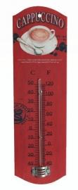 Metalen theromometer Cappucino rood - 26 cm hoog