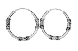 925 Sterling zilveren Creole Bali hoepoorbellen - 19 mm