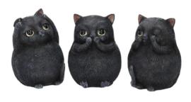 3 Wise Fat Cats - Horen Zien Zwijgen Zwarte Katten - 8.5 cm hoog