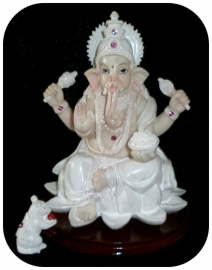 Ganesha on a lotus round wooden stand 16 cm tall