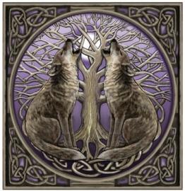 Maanstarende wolven - wenskaart Lisa Parker - 13 x 13 cm