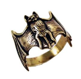 Bronzen ring vleermuis maat 19