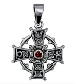 925 Sterling zilveren kettinghanger Keltisch kruis met rood strass steen - 19 x 26 mm
