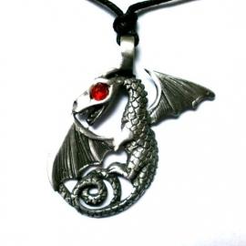 Pewter hanger draak met vleugels rood oog
