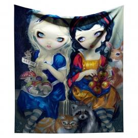 Fluwelen bedsprei woondeken Alice en Sneeuwwitje van Jasmine Griffith - 140 x 160 cm