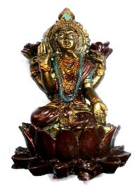 Bronskleurige Lakshmi op lotus 7 cm hoog