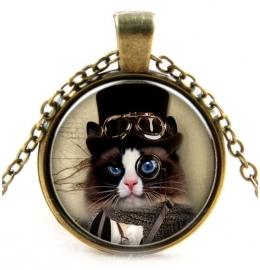 Glazen hanger met ketting Steampunk Cat