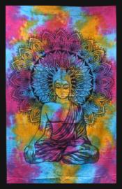 Bedsprei Wandkleed Grandfoulard Katoen uit India - Thaise Boeddha Gekleurd - 130cm x 200cm