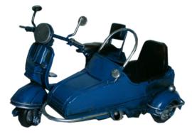 Miniature scooter met zijspaan blauw - 13  x 9  x 7 cm