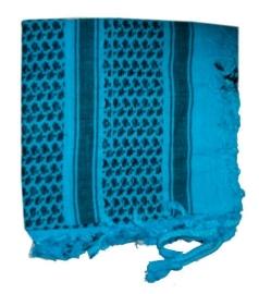 Arafatsjaal / Shemagh / Palestijnse sjaal zwart turquoise - zware kwaliteit - double dye