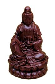 Quan Yin Guanyin Kwan Yin rode polystone 10 cm hoog