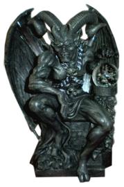 Duivel Lucifer Satan Gehoornde God polystone beeld met ledlicht - 25 cm hoog