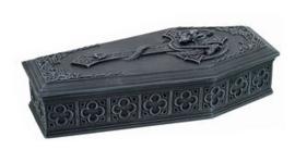 Grote doodskist doos met draak en kruis 23 cm lang