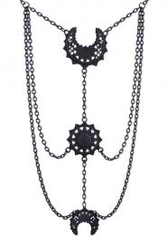Restyle Gothic Wicca Occulte nekketting - Luna - Orientale maanfasen zwart
