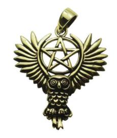 Ketting brons Vliegende Uil op Pentagram - dessin Lisa Parker - 3 x 3 cm