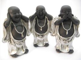 Horen Zien en Zwijgen - 3 staande Happy Boeddha's - 15 cm hoog