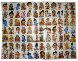 Sticker vel van 84 stickers Hindu Goden