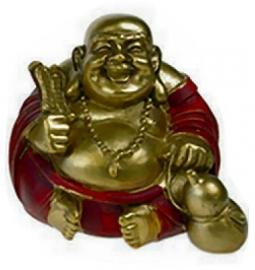 Happy boeddha rood goud 3