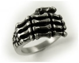Pewter ring skeletale handen