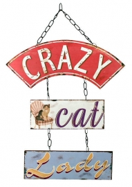 Metalen wandbord ketting Crazy Cat Lady