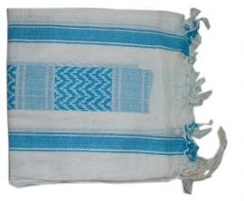 Arafatsjaal / Shemagh / Palestijnse sjaal turquoise wit - zware kwaliteit