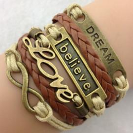 Bruine leren en koord wraparmband dream believe love infinity