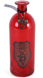Rode glazen fles Dragon's Blood 20 cm hoog