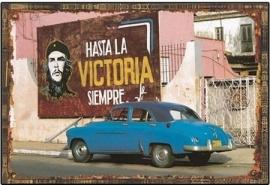 Blikken metalen wandbord Che Guavara Hasta la Victoria - 20 x 30 cm