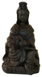 Black Quan Yin with child 12 cm hoog