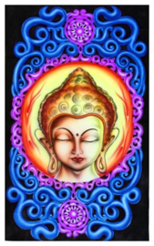 Bedsprei Wandkleed Goa Style UV Blacklight – Thai Boeddha op Lotus – 200 x 120 cm