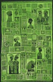 Een persoons bedsprei, wandkleed African Kundal groen - 140 x 200 cm