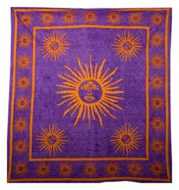 Bedsprei / wandkleed zon paars 200 x 220 cm
