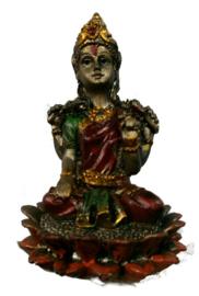 Bronskleurige Lakshmi op lotus 6 cm hoog